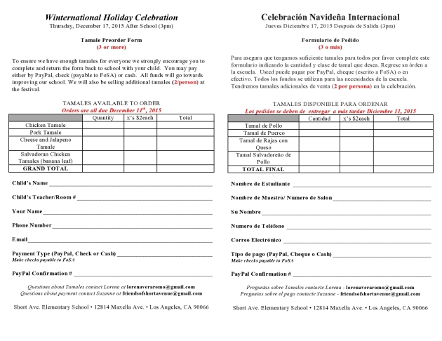 Tamales Pre-order form Winternational Holiday Celebration