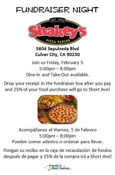 Shakey's Pizza Parlor Restaurant Night Fundraiser