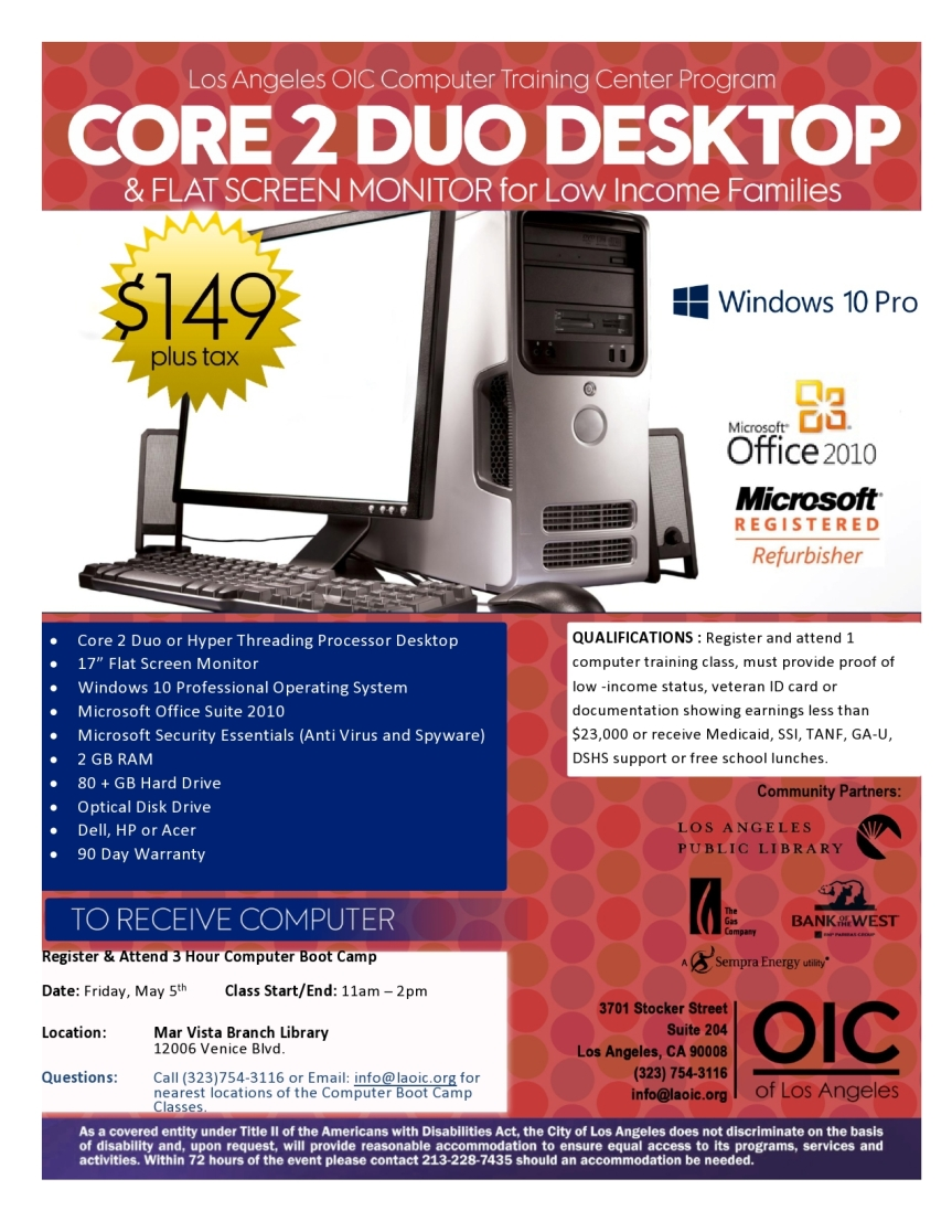 Computer & Monitor $149 for Low Income at Mar Vista Library Workshop