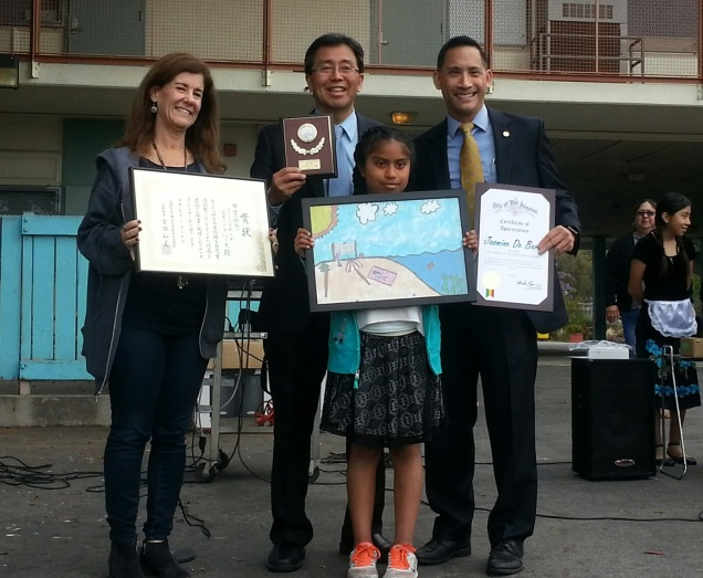 Silver Medalist Jasmine De Baris, Museum of Art, International Children's Art Contest with Principal Karen Reynolds, Ron Kato, Executive Director, MOA Wellness, Len Nguyen, Senior Field Deputy, City of Los Angeles