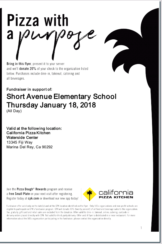 California Pizza Kitchen Restaurant All Day! Thursday 1/18 | Friends Of  Short Avenue