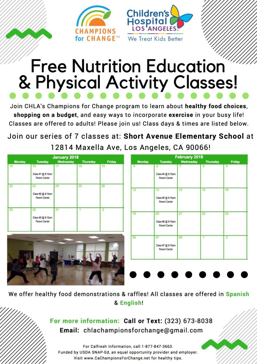 Short Avenue- Adult Nutrition Class Flyer