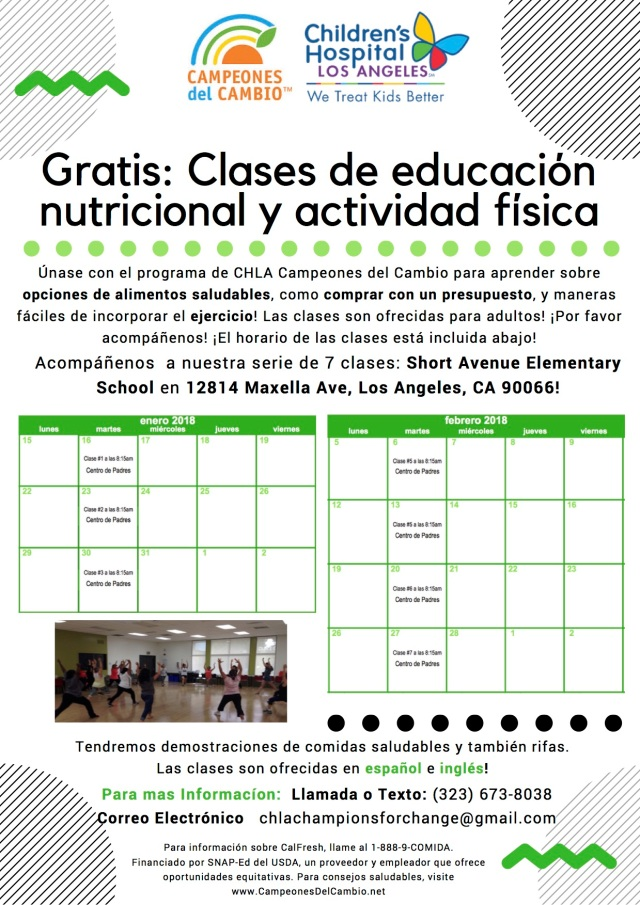 Spanish- Adult Nutrition Class Flyer