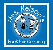 Mrs. Nelson's Book Fair logo blue