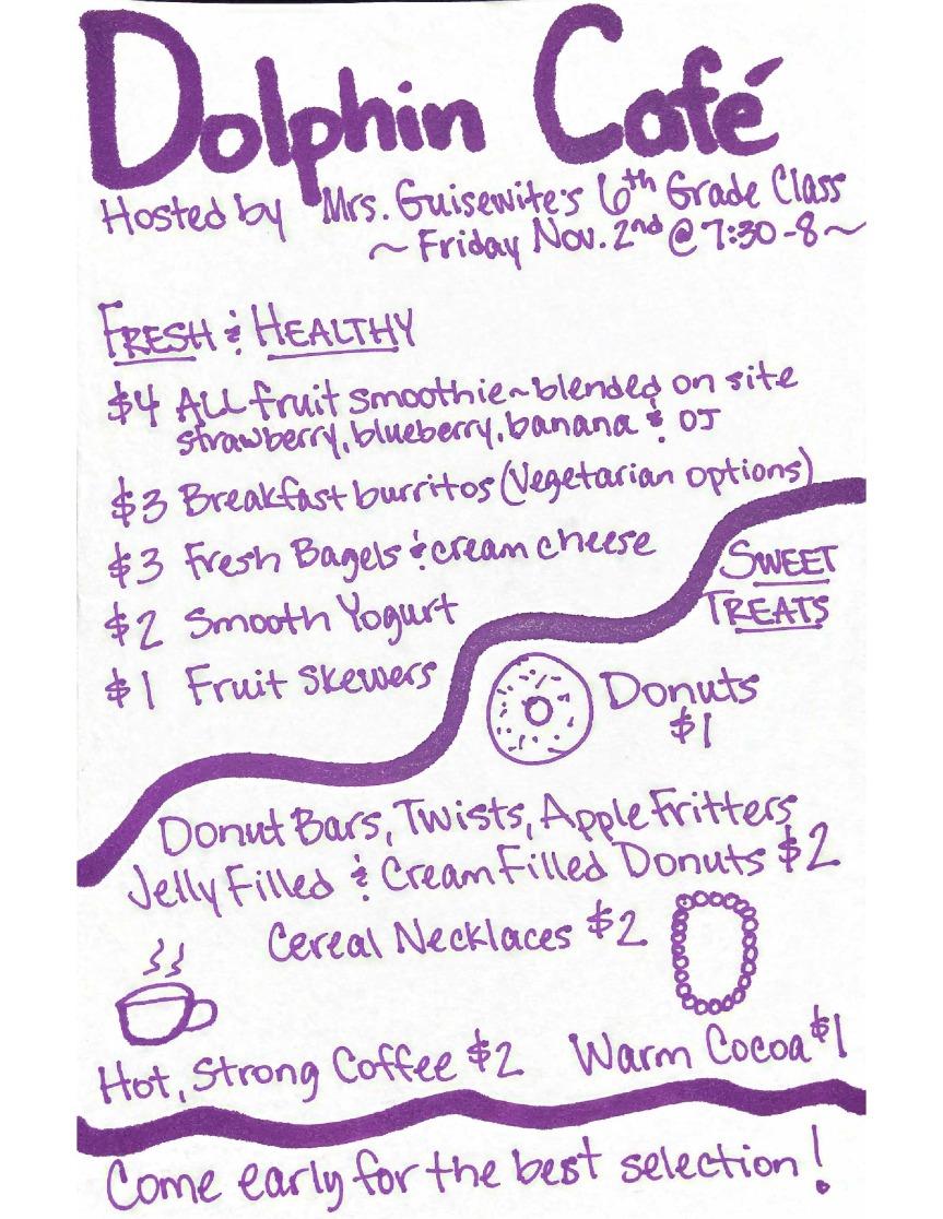 Dolphin Cafe Bake Sale 6th Grade Fundraiser